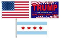 3x5 Trump 2016 & Usa American & City Of Chicago Wholesale Set Flag 3'x5'