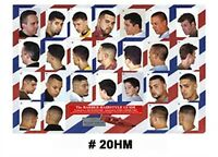 20hm Large Format Barber Poster W/25 Styles & Cuts For Men