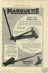 1927 Paper Ad Marquette Garage Shop Floor Jack Willys