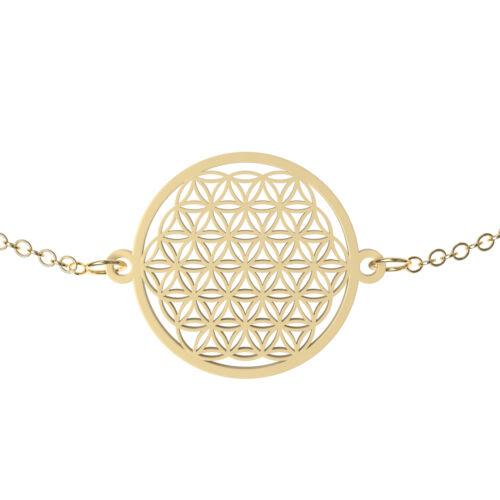 Damen Armkette Armband mit Anhänger Blume des Lebens Kettchen Edelstahl Gold