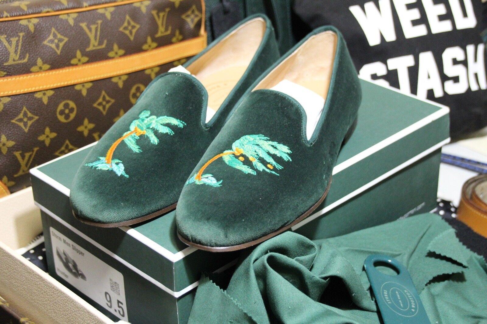 Stubbs & Wootton Zapatillas Mocasines 9.5 Diseñador verde tormenta Palmera Hojas Zapato