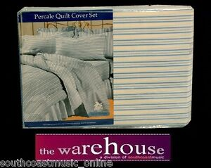POLY-COTTON-Blue-Stripe-250TC-QUEEN-QUILT-COVER-SET-2-PILLOW-CASES