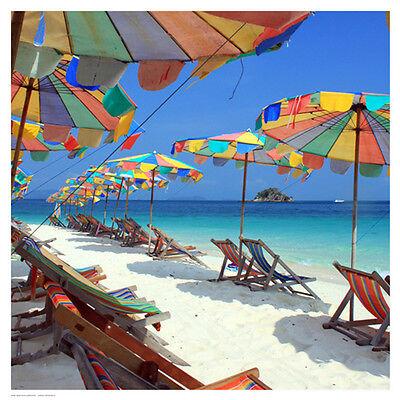 Beach Art - Parasols on a Tropic Isle II Art Print - Mosin - New!