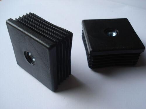 2 embouts bouchons ailette PVC pour tube carré 50mm M8
