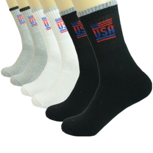 3 Pairs Mens Sports Athletic Work Crew Cotton Socks Casual USA Size 9-11 10-13