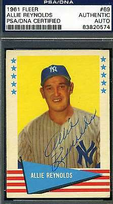 ALLIE REYNOLDS 1961 FLEER SIGNED PSA/DNA CERTIFIED AUTHENTIC AUTOGRAPH