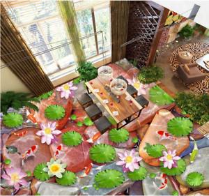 3D Karpfen Lotus 430 Fototapeten Wandbild Fototapete Tapete Familie DE Lemon