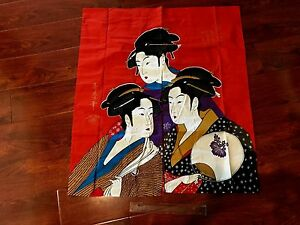 Vintage-Japanese-Door-Curtain-with-Ukiyoe-woodblock-print-by-Kitagawa-Utamaro
