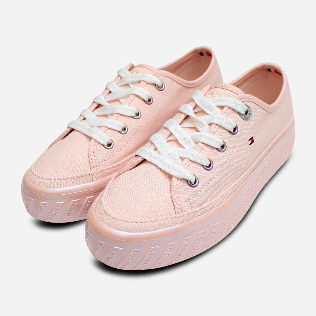 Tommy Hilfiger Flatform Detail Sneakers in Pink Canvas