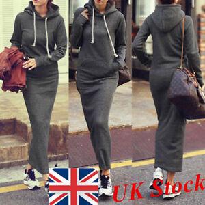 UK-STOCK-Women-Long-Sleeve-Hooded-Slim-Holiday-Maxi-Dress-Hoodie-Sweatshirt-Tops