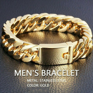 Charm-Men-039-s-Fashion-Heavy-Solid-Gold-Plated-Curb-Chain-Bracelet-Jewelry-FT