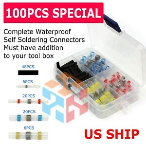 100pcs White Waterproof Solder Seal Sleeve Heat Shrink Wire Splice Connectors B