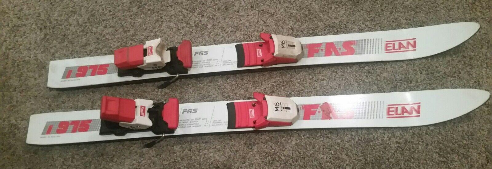 Elan FAS 975 White 89 cm Downhill Snow Skis  marker twin  cam m6 AdjBindings  buy discounts
