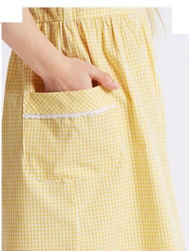 M /& S Girls Yellow Regular Fit Pure Cotton Gingham Dress 8-9 Years Height 134 cm