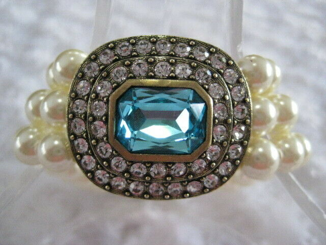 HEIDI DAUS  Tailored To Please  (Aquamarine bluee) 7-1 4  Bracelet (Orig. 129.95)