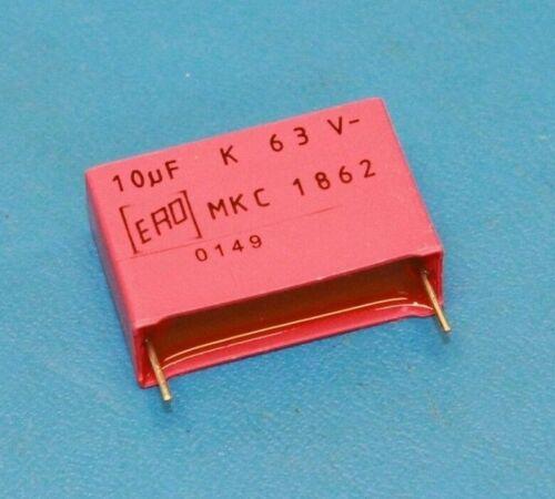 QTY-5 VISHAY MKC1862-610//065 10uF 63VDC 10/% Polycarbonate Film Radial Capacitor