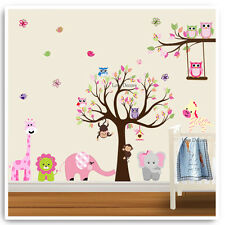 Owl Wall Stickers Animal Monkey Jungle Zoo Tree Nursery Baby Bedroom Decals Art