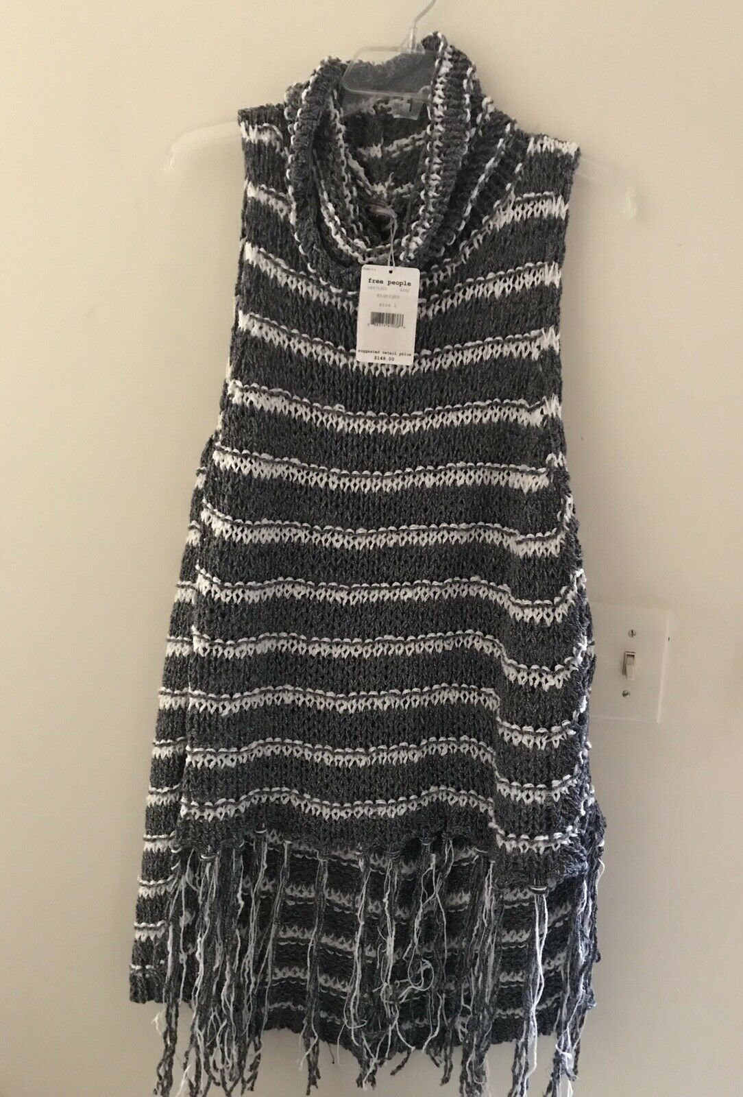 NWT Free People Folksong Midnight Striped Fringe Tunic OB475300 Large