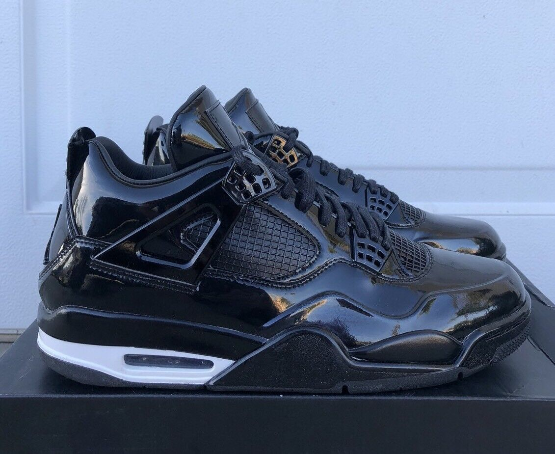 Nike Air Jordan 4 Retro 11Lab4 Patent Black/White 718664-010 Sz(12-13) B-Grade