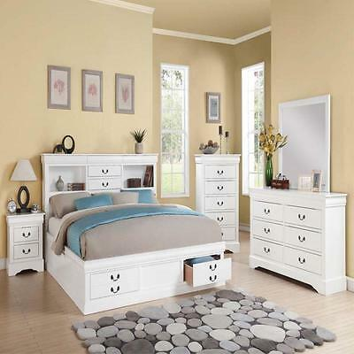 New Modern White Cal King Bedroom Set Bed W Storage Mirror
