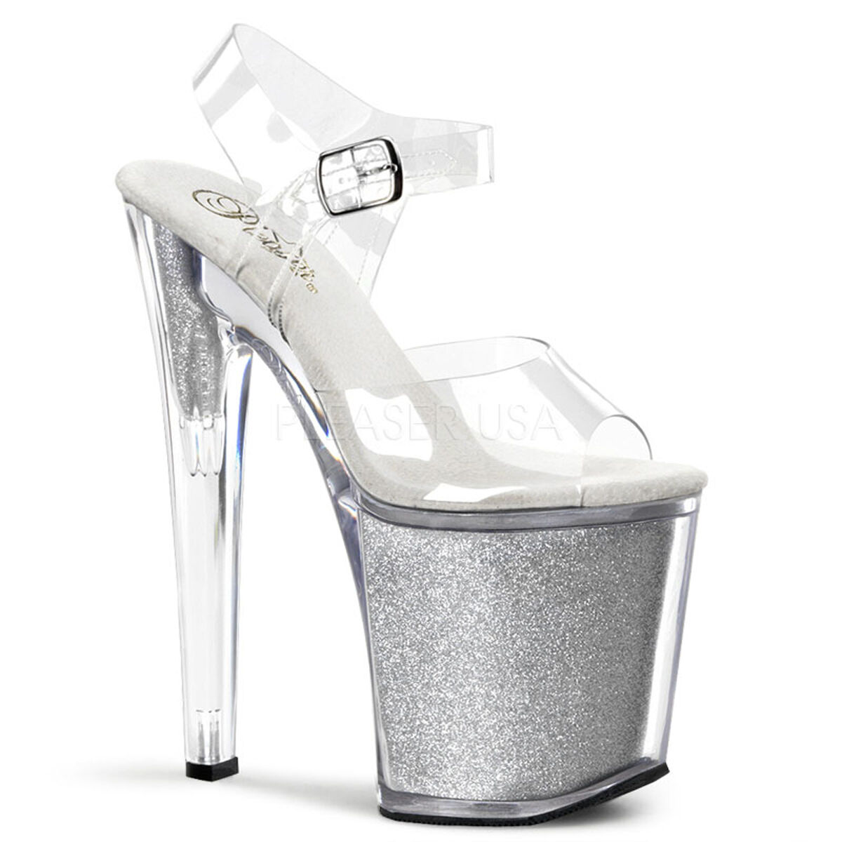 PLEASER XTM808G C SG Sexy Sexy Sexy Silver Glitter Tall Platform 8  Stripper Heels shoes 51612e