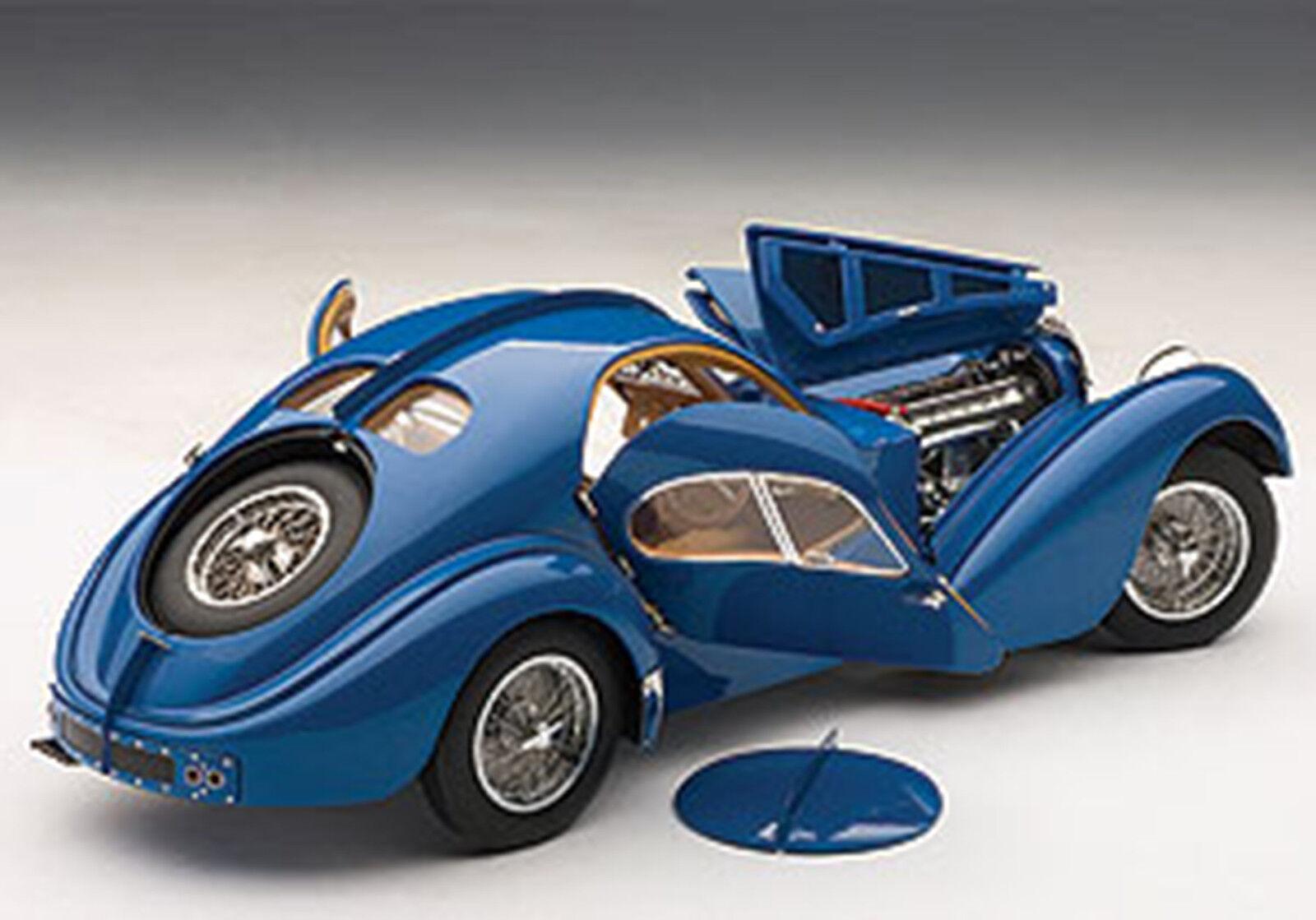 Autoart Bugatti 57sc Atlantique 1938 W Bleu   Métal Fil Roues à Bâtons 0.1cm