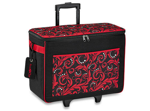 RED Brother ScanNCut Scan N Cut CATOTER Rolling Tote Bag with Logo Luggage Tag
