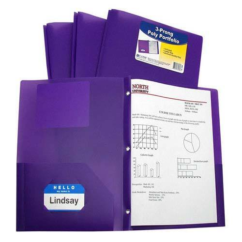 New C-Line Two-Pocket Heavyweight Poly Purple Folder with Prongs 25//PK