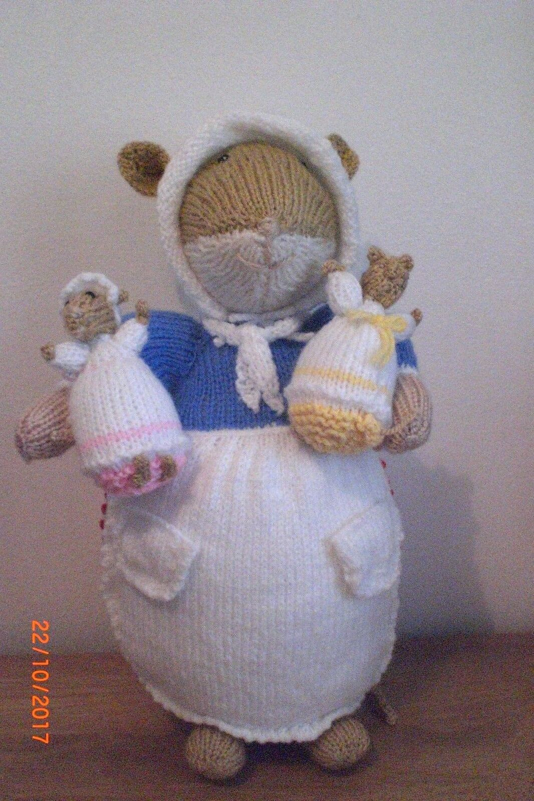 POPPY AND BABIES pink & BUTTERCUP A NEW HAND KNITTED DOLL TOY 33cm TALL
