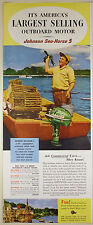 Vintage 1952 JOHNSON SEA-HORSE 5 OUTBOARD MOTOR Half-Pg Lg Magazine Ad: Lobster