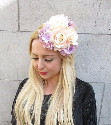 Purple Hydrangea Rose Flower Fascinator Headpiece Races Vintage Headband 2145