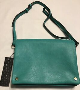 Details About Schfix Street Level Bag Purse Tote Foldover Vegan Leather Crossbody Green New