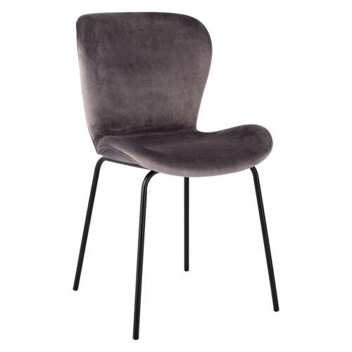 1 x Habitat ETTA Grey Velvet Upholstered Dining Chair Black Legs 781992 (BJ141)