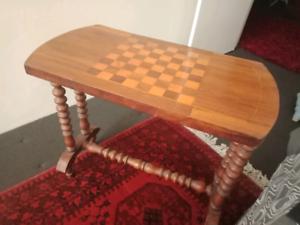 Antique Chess Table Walnut Ebay