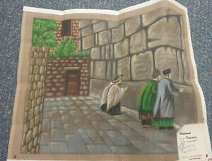 Details about Needlepoint Canvas Wailing Wall Temple of Israel Vintage Hand  Painted Praying