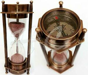 5-034-DECORATIVE-BRASS-SAND-TIMER-HOURGLASS-WITH-ANTIQUE-MARITIME-BRASS-COMPASS