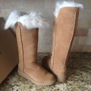 b3805a55a43 Details about UGG ROSALIND CHESTNUT SUEDE TOSCANA FUR KNEE HIGH WEDGE BOOTS  SIZE US 12 WOMENS