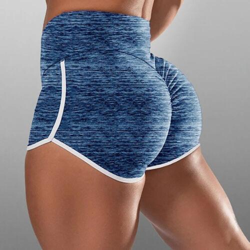 Women High Waist Yoga Shorts Push Up Sports Running Gym Hot Pants Fitness Bottom