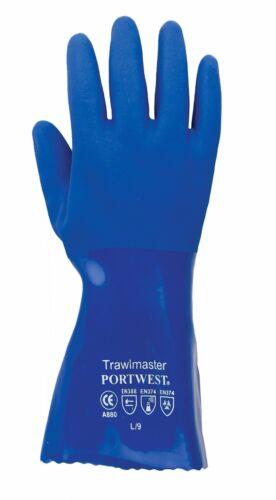 Blue 12 Pairs Portwest A880 Trawlmaster 30cm Gauntlet PVC Gloves