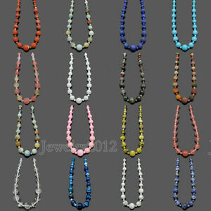 Natural-Gemstones-Graduated-Round-Beads-Macrame-Necklace-4-12mm-Adjustable