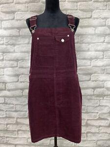 Asos Women S Jumper Overall Dress Size Us 10 Uk 14 Corduroy Burgundy Ebay