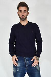 RALPH-LAUREN-Lambswool-Knitwear-Maglione-Blu-In-Lana-Di-Agnello-TG-M-Uomo-Man