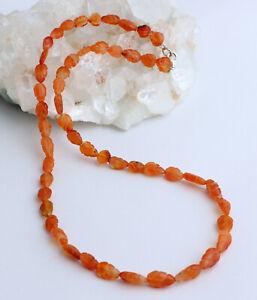 Natural Carnelian Chain Gemstone Necklace Hand Engraved Leaf Shape Orange Noble