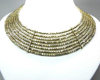 Neu 8-reihiges Collier Statement Mit Perlen Goldfarben Halskette Metall Blogger Moderate Kosten
