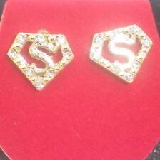 SUPERMAN GOLD TONE PENTAGON DESIGN EARRINGS