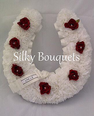 Horse Artificial Silk Funeral Flower Head Memorial Wreath Tribute Racing Dad
