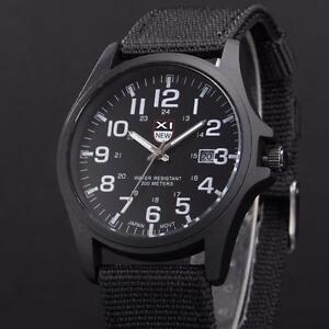 Belle-Montre-Militaire-Quartz-Homme-Sport-Bracelet-Tissu-Date-Automatique-PROMO