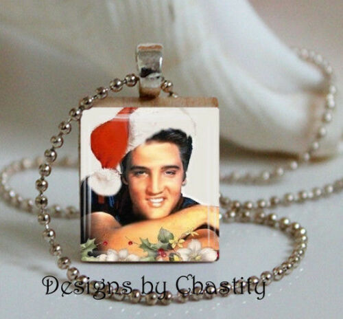 Elvis Presley Charm Necklace Santa Hat Christmas VTG Holiday Art Music Fans