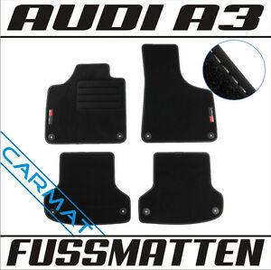 audi a3 8p bj 2003 2012 fussmatten veloursmatten mit logo. Black Bedroom Furniture Sets. Home Design Ideas
