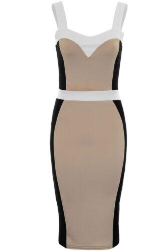 Ladies Celeb Jessica Strappy Slimming Effect Panel Knee Length Bodycon Dress